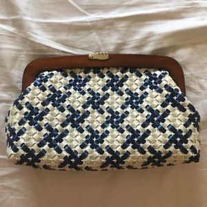 Woven navy and cream vintage clutch